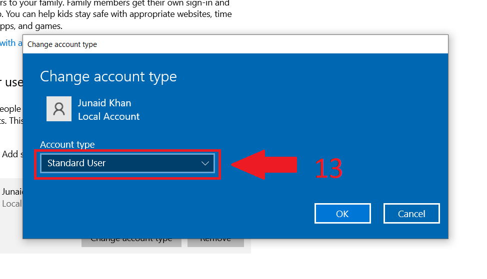 10 - account type in windows 10